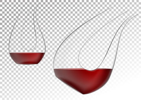 Vector illustration in photo realistic style. The image of a realistic glass transparent decanter for wine on a transparent background. Object to enrich the saturation of wine with oxygen.