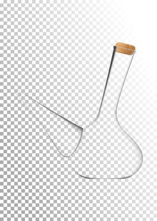 Vector illustration in photo realistic style. The image of a realistic glass transparent national Spanish vessel for wine on transparent background. Serving wine with decanter. Illustration