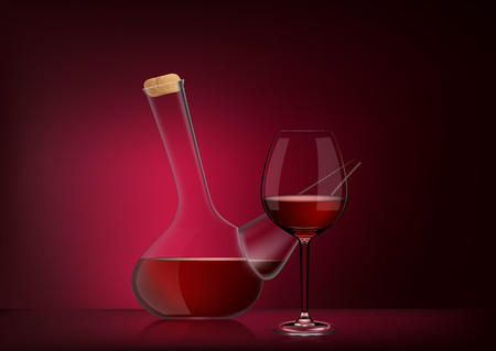 Vector illustration in photo realistic style. The image of a realistic glass transparent national Spanish vessel with wine and full glass on red dark background. Serving wine with decanter.