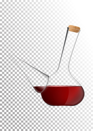 Vector illustration in photo realistic style. The image of a realistic glass transparent national Spanish vessel for wine on transparent background. Serving wine with decanter. 일러스트