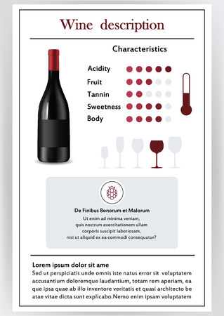 Brochure, form describing the characteristics of red wine. Feed temperature, brief description, history of origin, tableware glass for serving, taste criteria. Tannins, acidity, fortress.