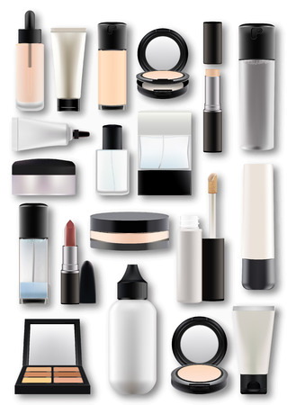 Vector illustration in photorealistic style.Set of realistic cosmetic bottles.Plastic,matte transparent,glass flacons with decorative cosmetics. Isolated objects on white background.