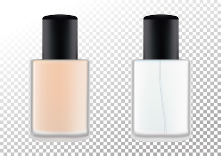 Realistic bottles for cosmetic products, perfume, toilet water, foundation.Transparent flacon with a black lid. Isolated object on a transparent background. Vector illustration.