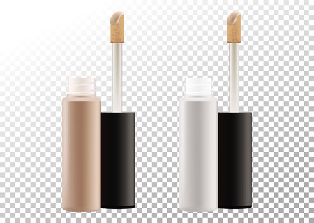Mock up of realistic concealer makeup open bottle with tassel. Package of face skin corrective cosmetic product. Template of container isolated on transparent background. Vector illustration.