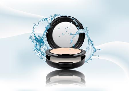 Seite des Werbemagazins, Spritzer Wasser. Realistisches schwarzes kompaktes Mineralpulver aus Kunststoff. Produktpaket aus kosmetischem Make-up isoliert auf abstraktem, stilvollem Farbverlaufshintergrund. Vektorillustration.