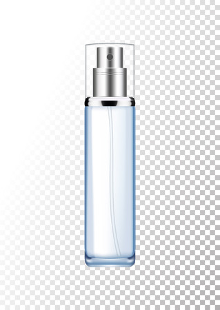 Vector empty silver and blue package for cosmetic products with pump, tube for lotion, tonic, cream. Realistic mockup of glass container with batcher isolated on white-transparent background.