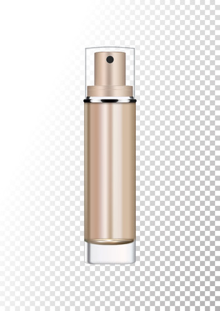 Vector empty bronze gold package for cosmetic products with pump, tube for lotion, tonic, cream. Realistic mockup of glass container with batcher isolated on white-transparent background.