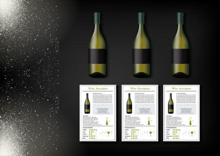 A simple design of realistic bottles of wine and wine cards with descriptions and characteristics of the wine on a black background with sparkling sparkles. Vector illustration in photorealistic style.