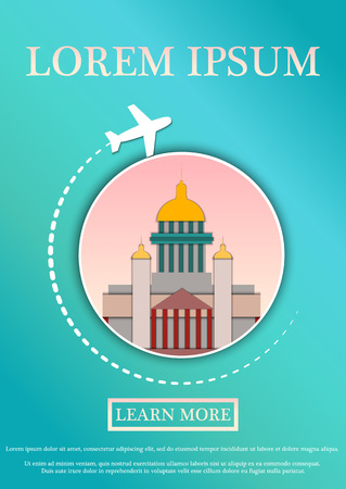 Vector Banner with text Travel card. Concept website template.Modern flat paper art design. St. Isaac's Cathedral.Saint Petersburg. Vector Illustration
