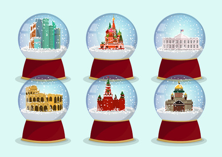 Vector Christmas Glass globe with the falling snow and architectural tourist attractions in it. St. Isaacs Cathedral, St. Basils Cathedral, Kremlin and Moscow-City .Moscow Standard-Bild - 119292142