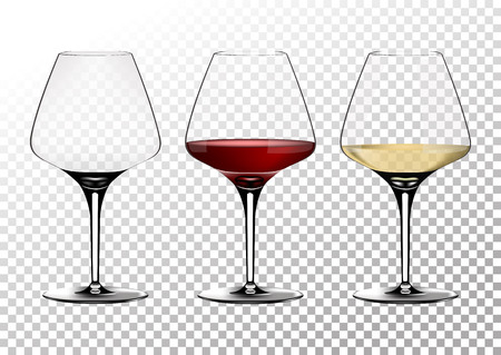 Set transparent vector wine glasses empty, with white and red wine.Vector illustration in photorealistic style. Illustration