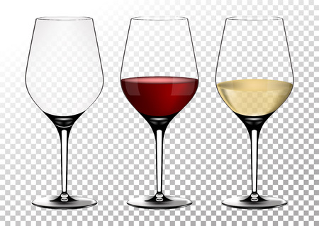 Set transparent vector wine glasses empty, with white and red wine.Vector illustration in photorealistic style. Stock Vector - 111780432