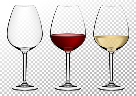 Set transparent vector wine glasses empty, with white and red wine. Vector illustration in photorealistic style. Standard-Bild - 119292144