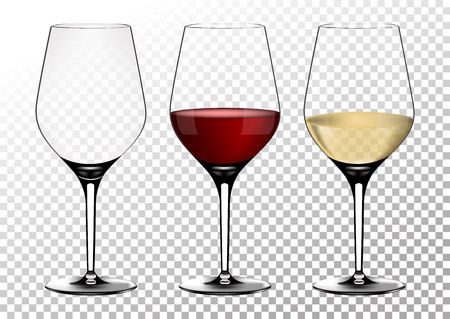 Set transparent vector wine glasses empty, with white and red wine. Vector illustration in photorealistic style. Reklamní fotografie