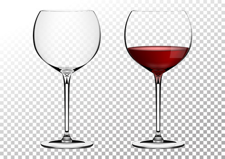 Set transparent vector wine bordo glasses empty, with red wine. Vector illustration in photorealistic style.