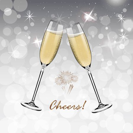 Vector Happy New Year with toasting glasses of champagne on white snow background in realistic style.Greeting card or party invitation with golden Christmas tree illustration. Ilustrace