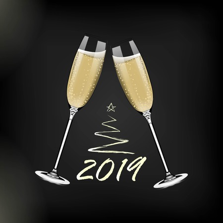 Vector Happy New Year with toasting glasses of champagne on dark background in realistic style.Greeting card or party invitation with golden Christmas tree illustration. Standard-Bild - 127429010