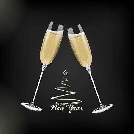 Vector Happy New Year with toasting glasses of champagne on dark background in realistic style. Greeting card or party invitation with golden Christmas tree illustration. Standard-Bild - 119292148