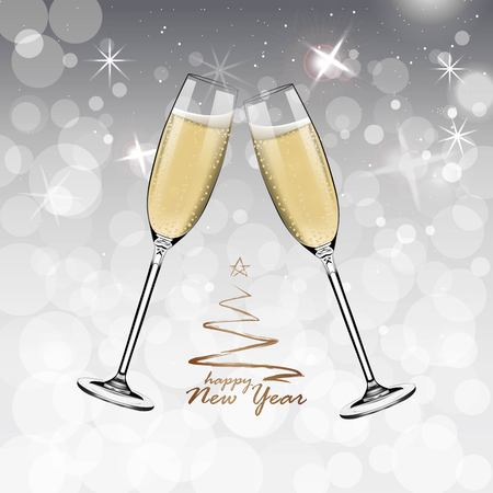 Vector Happy New Year with toasting glasses of champagne on white snow background in realistic style. Greeting card or party invitation with golden Christmas tree illustration. Standard-Bild - 119292149
