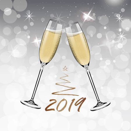 Vector Happy New Year with toasting glasses of champagne on white snow background in realistic style. Greeting card or party invitation with golden Christmas tree illustration. Çizim