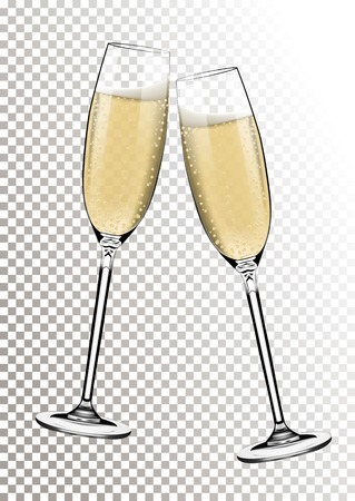 Vector Happy New Year with toasting glasses of champagne on transparent background in realistic style.Greeting card or party invitation with golden bright illustration.