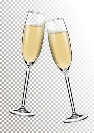 Vektor guten Rutsch ins Neue Jahr mit Gläsern Champagner auf transparentem Hintergrund im realistischen Stil rösten. Grußkarte oder Partyeinladung mit goldener heller Illustration. Vektorgrafik