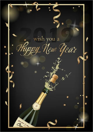 Vector illustration of opened bottle of champagne or sparkling wine with a cork and splash in photorealistic style. Greeting card.Christmas holiday banner with confetti and glitter 2019 Standard-Bild - 127346347