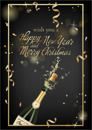 Vector illustration of opened bottle of champagne or sparkling wine with a cork and splash in photorealistic style. Greeting card.Christmas holiday banner with confetti and glitter 2019