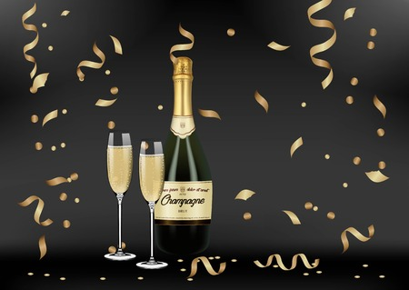 Vector Realistic green with gold label Champagne bottle, glasses with sparkling white wine on black shine background with confetti and sparkles.Happy new year and mary christmas illustration 2019