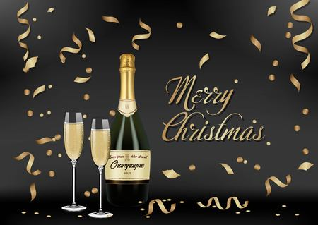 Vector Realistic green with gold label Champagne bottle, glasses with sparkling white wine on black shine background with confetti and sparkles. Happy new year and mary christmas illustration 2019 Standard-Bild - 119292078
