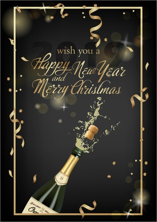 Vector illustration of opened bottle of champagne or sparkling wine with a cork and splash in photorealistic style. Greeting card.Christmas holiday banner with confetti and glitter 2019 Standard-Bild - 127273302