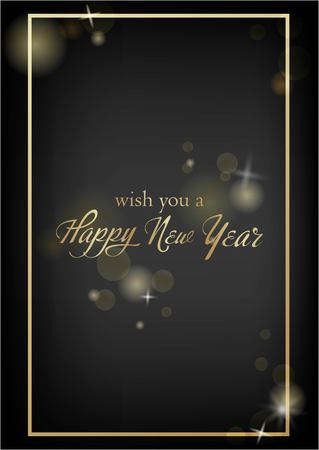 Vector illustration of new year Greeting card. Christmas holiday banner with confetti and glitter 2019.Dark shine background. Standard-Bild - 127273303