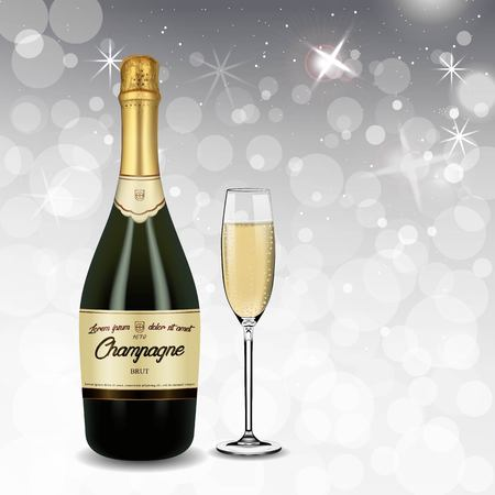 Vector Realistic green with gold label Champagne bottle and glasses with sparkling white wine isolated on white shine background.Happy new year and mary christmas illustration 2019