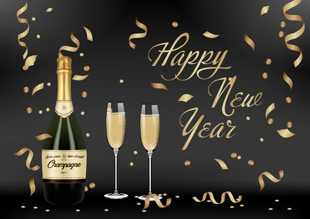 Vector illustration of opened bottle of champagne or sparkling wine with a cork and splash in photorealistic style. A realistic object on a black background. 3D Realism.