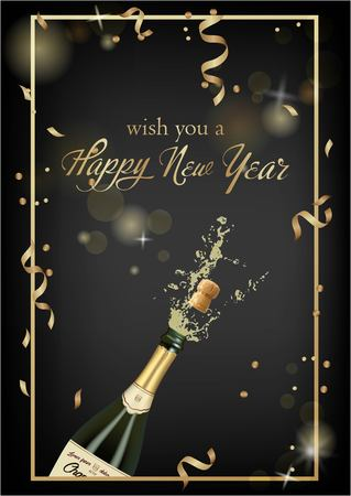 Vector illustration of opened bottle of champagne or sparkling wine with a cork and splash in photorealistic style. Greeting card. Christmas holiday banner with confetti and glitter 2019 Standard-Bild - 119292083