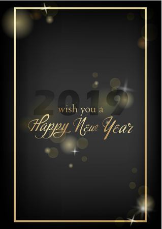 Vector illustration of new year Greeting card. Christmas holiday banner with confetti and glitter 2019.Dark shine background. Ilustrace