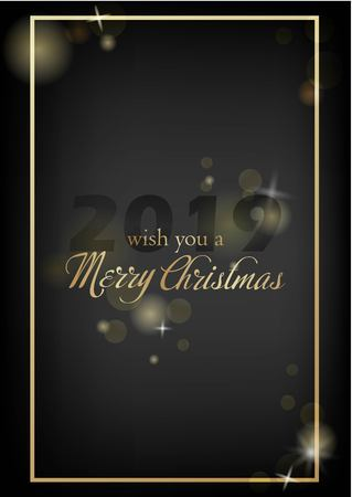 Vector illustration of new year Greeting card. Christmas holiday banner with confetti and glitter 2019. Dark shine background.