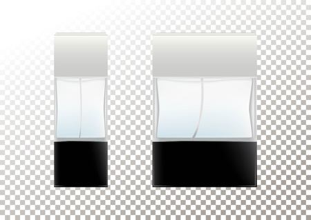Realistic bottles for cosmetic products, perfume, toilet water.Transparent flacon with a black lid. Isolated object on a transparent background. Vector illustration.