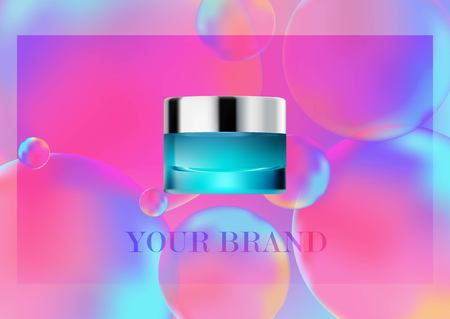 Mock up cosmetic realistic glass cream jar,silver lid. Cosmetic beauty product package template,vector illustration. Realistic container isolated on Neon color balls background. Blue color,overflows. Standard-Bild - 126222424