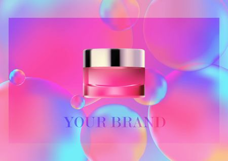 Mock up cosmetic realistic glass cream jar,silver lid. Cosmetic beauty product package template,vector illustration. Realistic container isolated on Neon color balls background. Pink color,overflows.