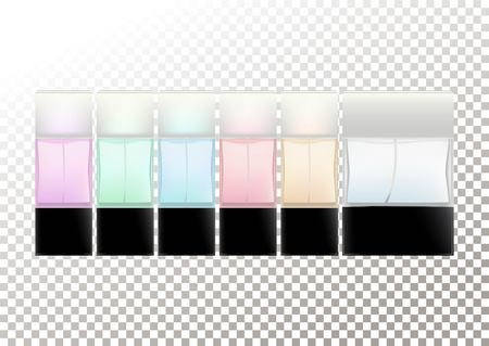 Realistic bottles for cosmetic products, perfume, toilet water.Transparent colored flacons with a black lid. Isolated object on a transparent background. Vector illustration. Standard-Bild - 126222426