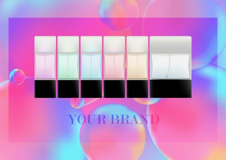 Realistic bottles for cosmetic products, perfume, toilet water.Transparent colored flacons with a black lid. Isolated object on on Neon color balls background. Vector illustration.