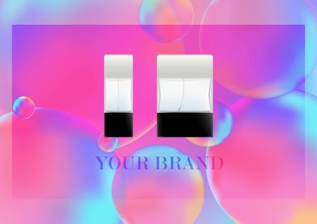 Realistic bottles for cosmetic products, perfume, toilet water.Transparent flacon with a black lid. Isolated object on Neon color balls background. Vector illustration.