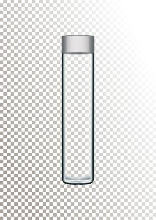 Vector illustration of realistic glass bottle for water and drink with gray lid on transparent background.