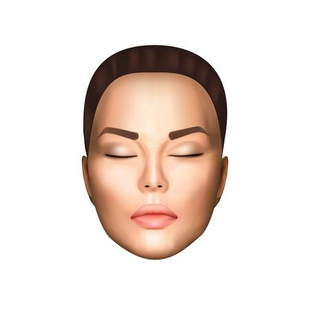 Vector illustration of realistic beautiful nice woman face witn closed eyes, light skin on white background isolated. Photorealistic style.