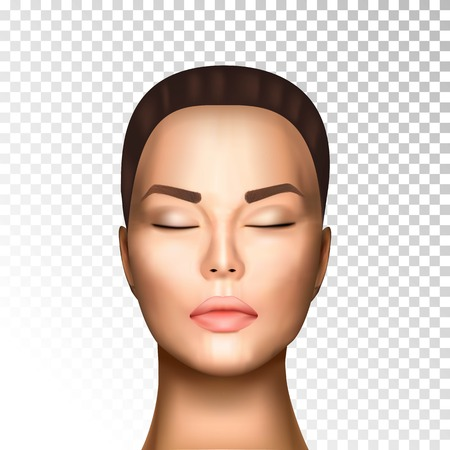 Vector illustration of realistic beautiful nice woman face witn closed eyes, light skin on on transparent background isolated. Photorealistic style.