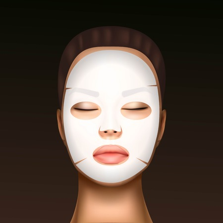 vector illustration of a realistic face of a young beautiful girl with a cosmetic moisturizing facial mask against the black dots. Standard-Bild - 124976578