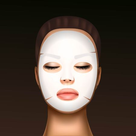 vector illustration of a realistic face of a young beautiful girl with a cosmetic moisturizing facial mask against the black dots. Imagens - 124941281