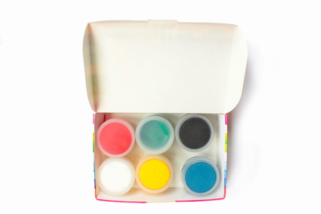 Paint gouache pack. Gouache pack of different colors. Craft pack of gouache paint. Stock Photo