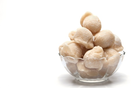 coconut palm sugar: coconut palm sugar on white background Stock Photo